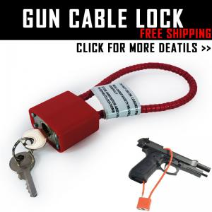 1x GUN CABLE SAFETY LOCK + KEYS PISTOL RIFLE SHOTGUN LOCK SAFE GUN BLACK STEEL HUNTING