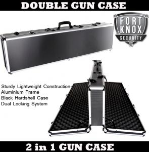 ALUMINIUM PORTABLE DOUBLE GUN CASE - FITS 2 GUNS, SHOTGUNS OR RIFLES