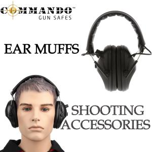 BLACK EARMUFFS SHOOTING FOLDED ELECTRIC GUN HUNTING ACTIVE VOLUME HEARING NOISE PROTECTION EAR MUFFS
