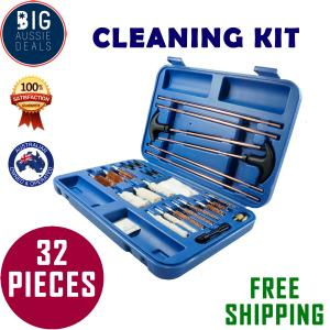 GUN CLEANING KIT BRUSH SET PISTOLS PISTOL RIFLE FULL CLEAN TOOL CASE SAFE WOOD - 28 PIECE Duplicate