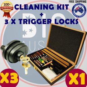 GUN CLEANING KIT & 3 x TRIGGER LOCK COMBO BRUSH SET PISTOLS PISTOL RIFLE SAFE CLEAN