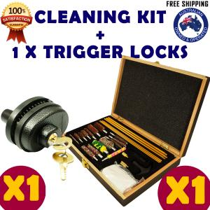 GUN CLEANING KIT & 1 x TRIGGER LOCK COMBO BRUSH SET PISTOLS PISTOL RIFLE SAFE CLEAN