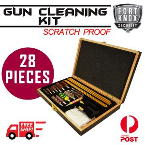 GUN CLEANING KIT BRUSH SET PISTOLS PISTOL RIFLE FULL CLEAN TOOL CASE SAFE WOOD - 28 PIECE