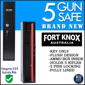 5 GUN SAFE - KEY FULLY LINED